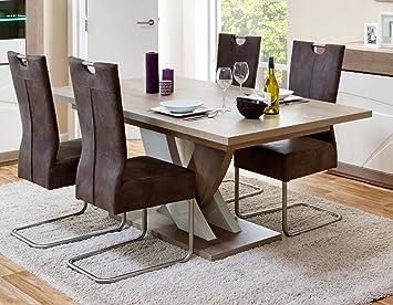 Matelpro Table De Salle à Manger Contemporaine Extensible Chêne Gris/blanc  Laqué Jenawel