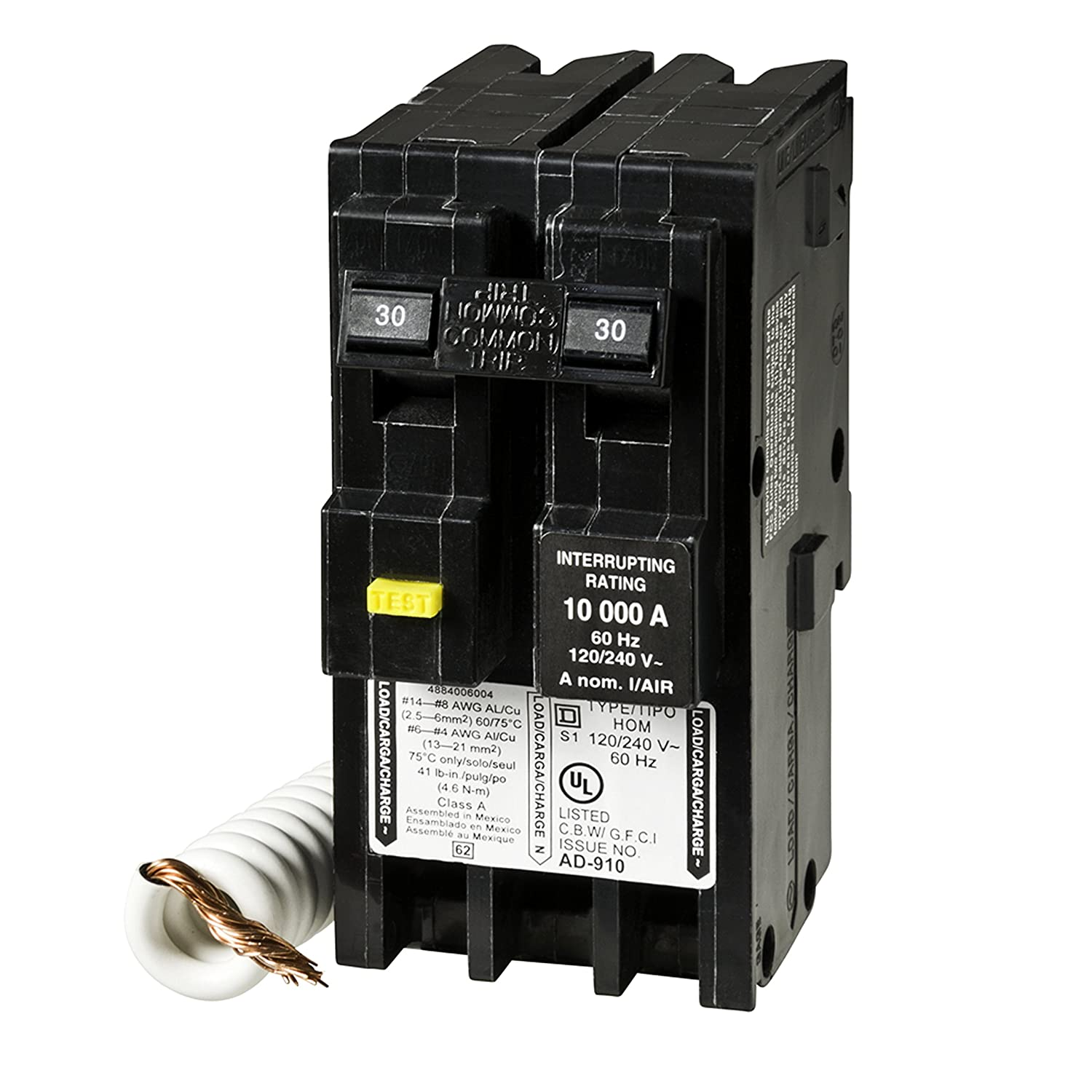 Home Improvement Square D by Schneider Electric HOM230GFIC Homeline 30 Amp Two-Pole GFCI Circuit Breaker Schneider Electric
