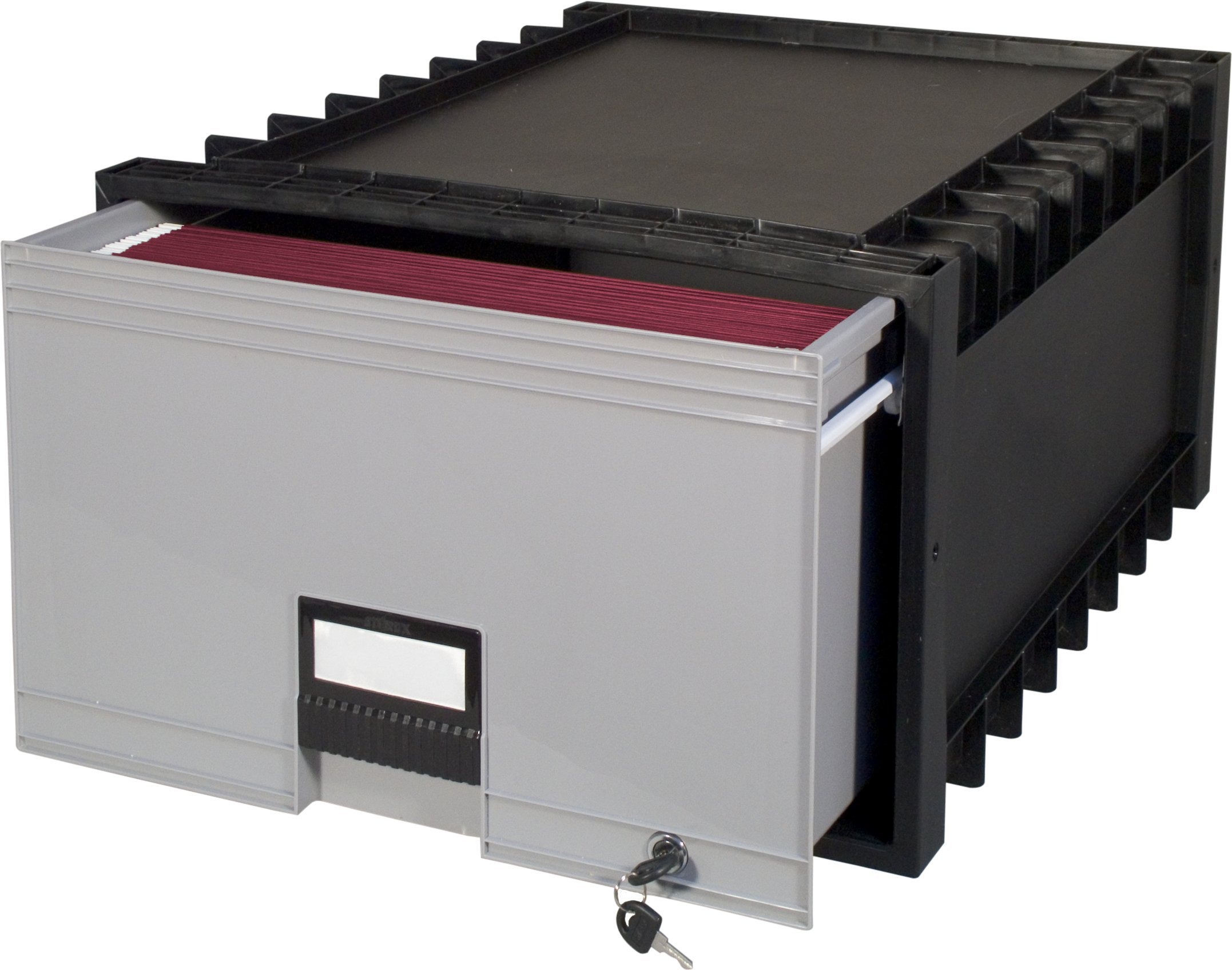 Storex 24-Inch Archive Locking Storage Box for Legal Size Files, Black/Grey (61155U01C)