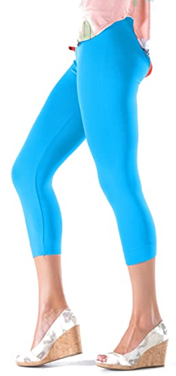 2c61132682a2d5 Lush Moda Seamless Capri Length Basic Cropped Leggings - Variety of Colors  - Aqua- OS