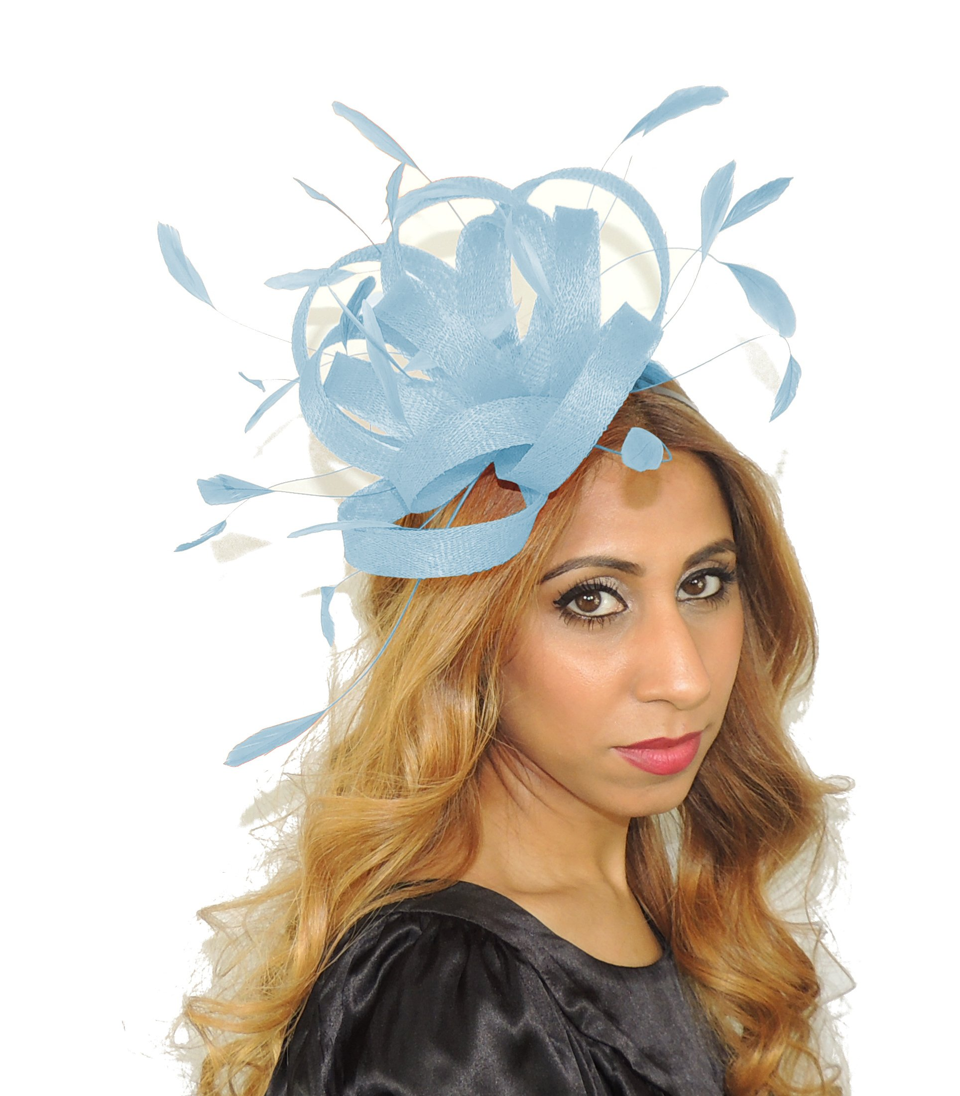 Hats By Cressida Pretty Fireball Baby Blue Feathers Ascot Derby Fascinator Hat - With Headband