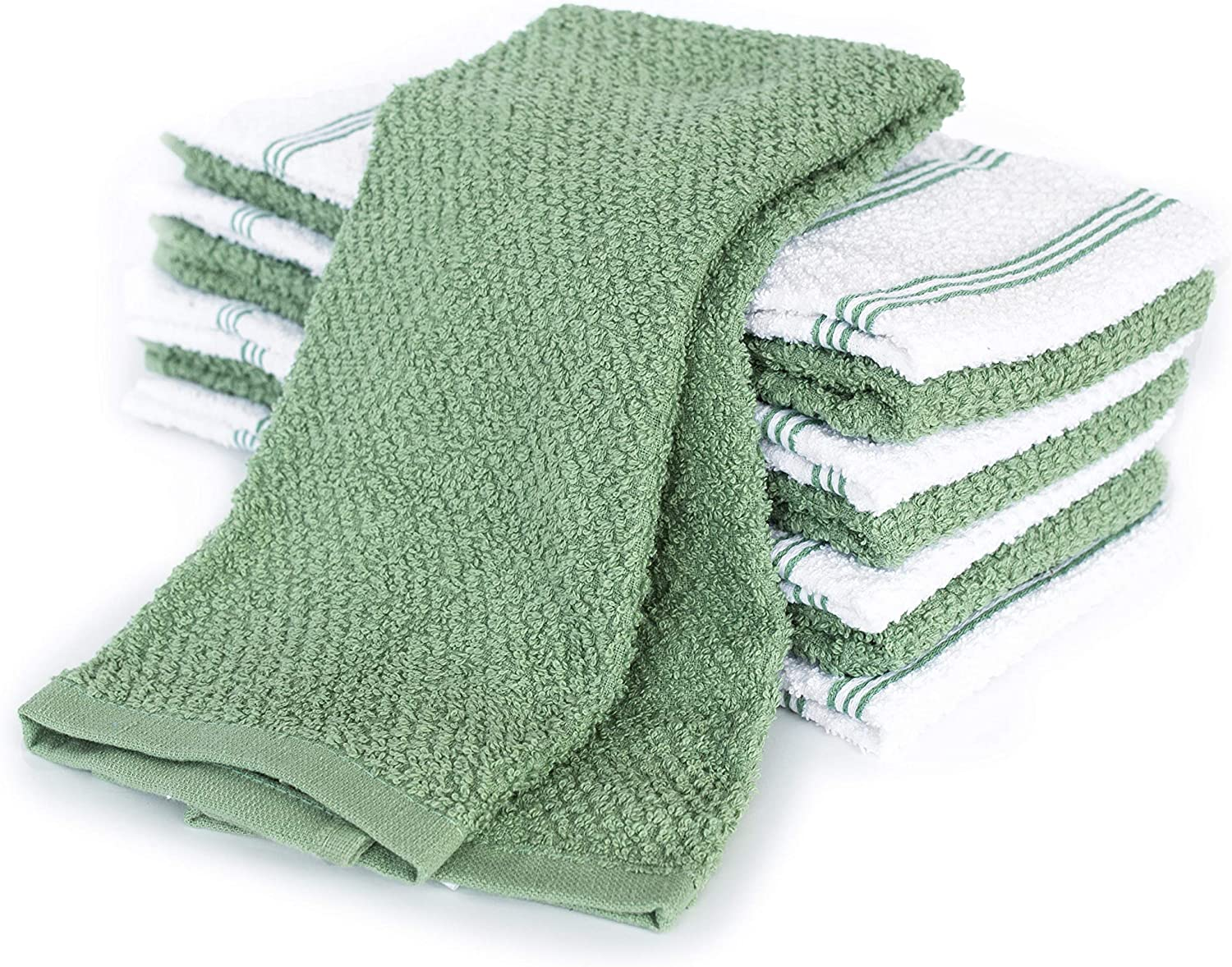 KAF Home Pantry Set of 8 Piedmont Kitchen Towels | Set of 8, 16x26 Inches | Ultra Absorbent Terry Cloth Dish Towels - Dark Gray (Mineral Green, Kitchen Towel 16x26)