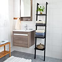 Haotian FRG15-SCH, Black 4-Tier Modern Ladder Bookcase, Book Shelf, Stand Shelf, Wall Shelf, 12.99inch x 70.87inch