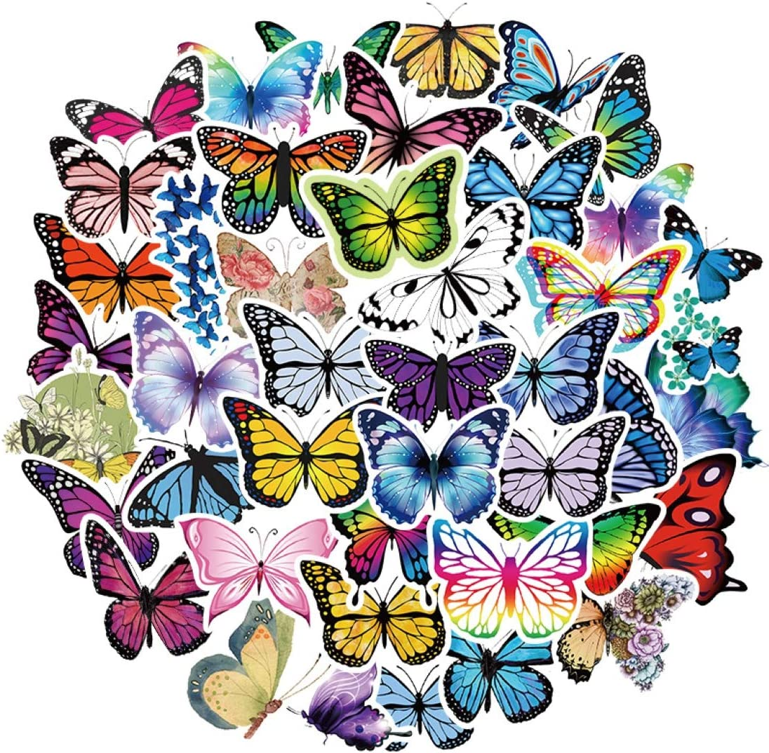 50Pcs Butterfly Stickers Trendy Graffiti Waterproof Decal for Laptop Computer Bedroom Wardrobe Car Skateboard Motorcycle Bicycle Mobile Phone Baggage Guitar (Butterfly)