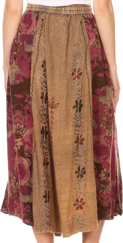 Sakkas Maran Womens Boho Embroidery Skirt with Lace Elastic Waist and Pockets