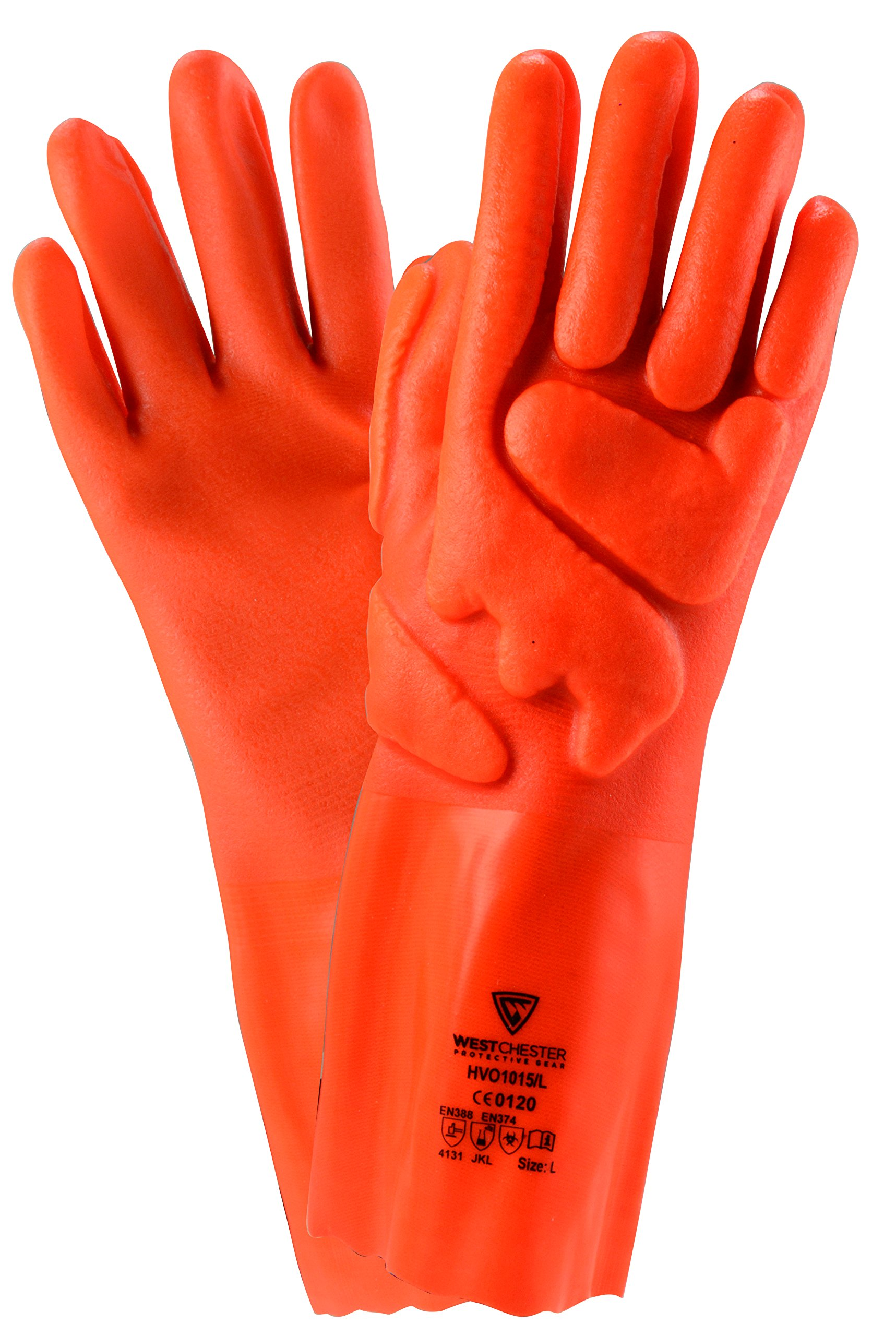 West Chester HVO1015 XL Nylon Airbrush Chemical Glove, 13'' Length, XL, Orange