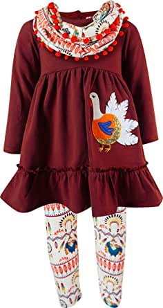 Boutique Clothing Girls Fall Thanksgiving's Day Turkey Outfits - Tunic Top Leggings Scarf 3-pc Sets 6M to 14 Years
