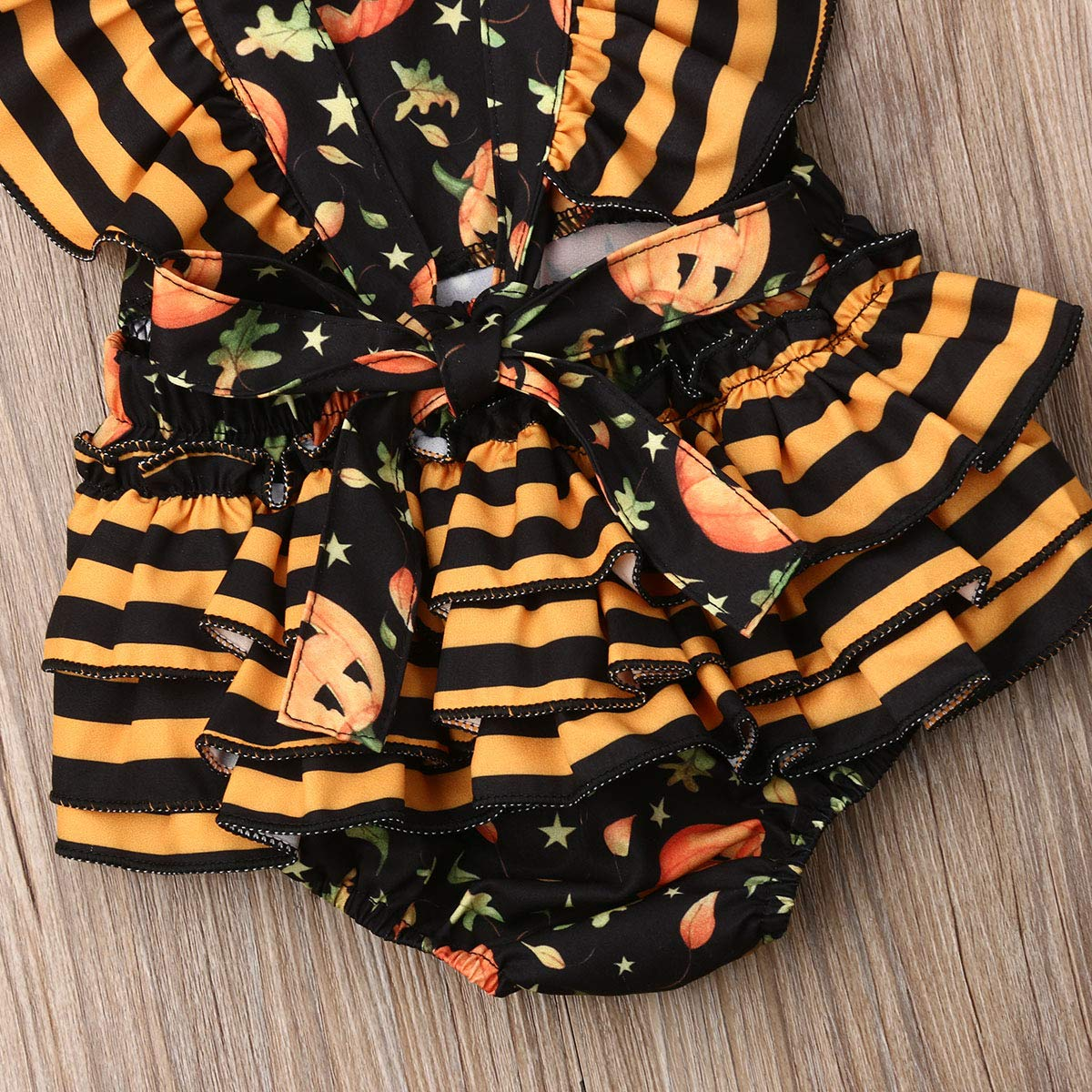 Dourbesty Toddler Infant Baby Halloween Romper Outfits Costumes Sleeveless Pumpkin Jumpsuit Bodysuit,3-24M
