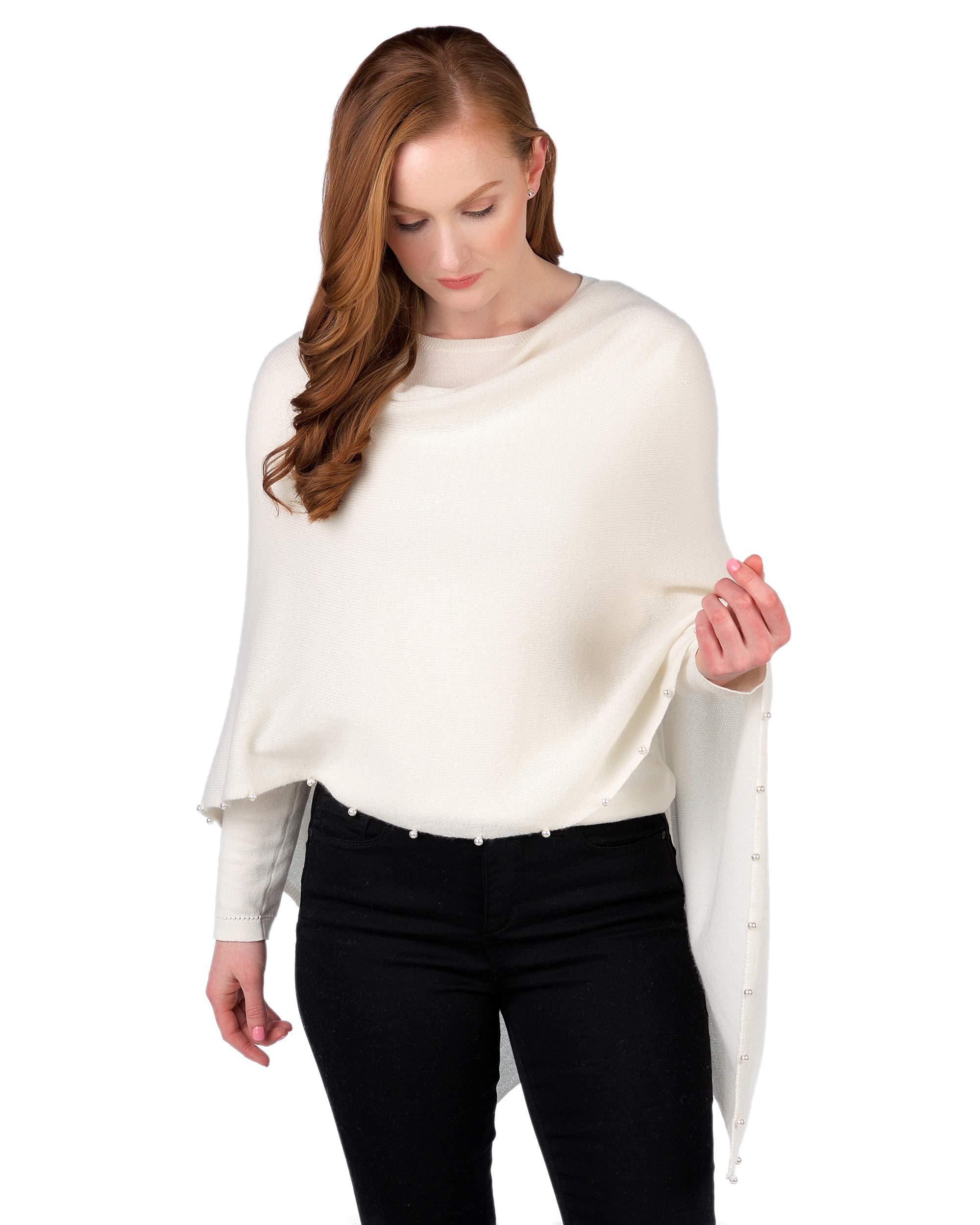 Claudia Nichole by Alashan 100% Cashmere Pearl Trim Dress Topper Poncho - White
