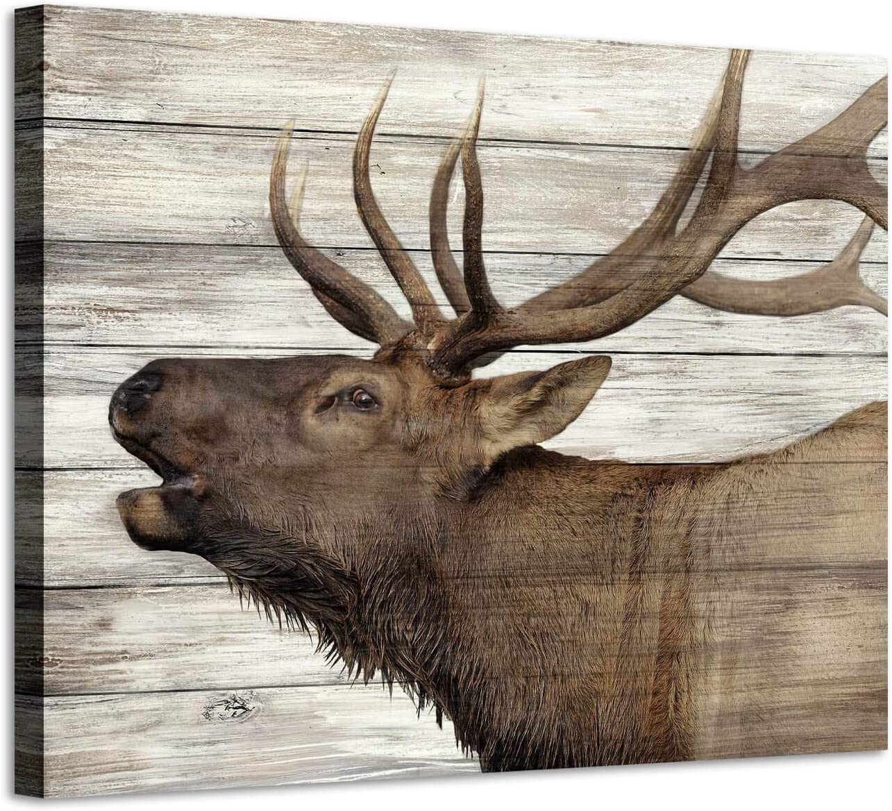 Amazon Com Elk Pictures Canvas Wall Art Wildlife Animals Artwork Print On Wrapped Canvas Paintings For Bedroom 24 W X 18 H Multi Sized Posters Prints