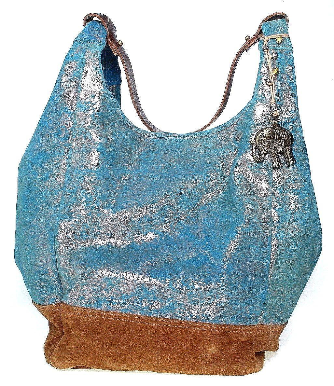 Anokhi Cheyenne Suede Metallic | Beuteltasche | blau , Farbe