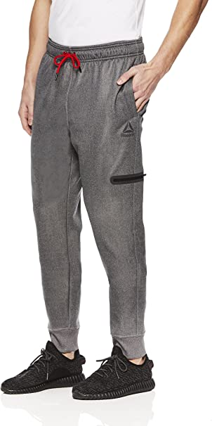 Reebok Men's Jogger Running Pants with Zipper Pockets Athletic Workout Sweatpants