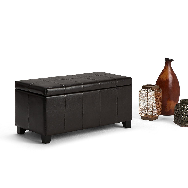Amazon.com: Simpli Home Dover Rectangular Storage Ottoman, Tanners Brown:  Kitchen U0026 Dining
