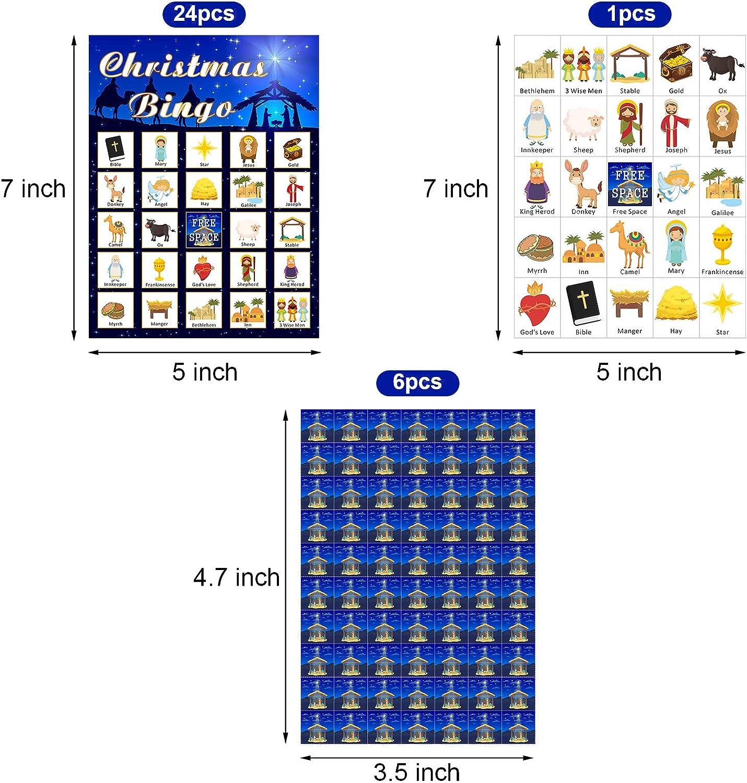 Skylety Juego de Bingo de Navidad Religioso de Navidad Tarjetas de Bingo de Natividad Juego de Fiesta Religiosa Decoraciones Fiesta Navidad 24 Jugadores