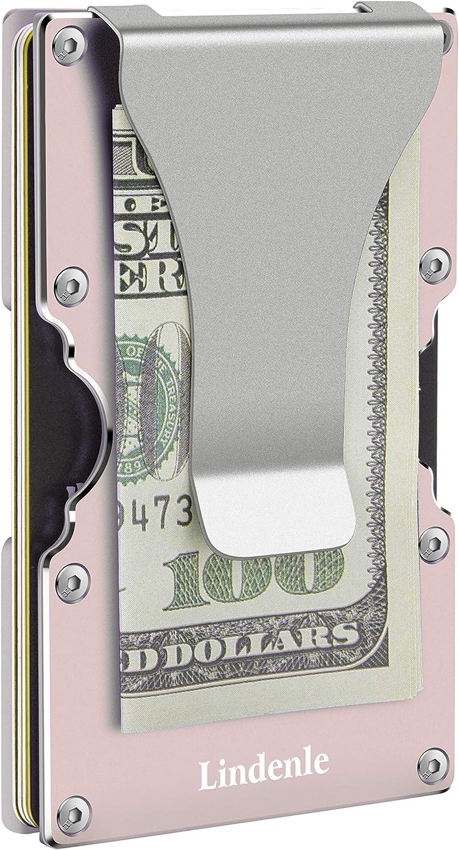 Lindenle Womens Minimalist Slim Wallet RFID Blocking Aluminum Card Holder Money Clip
