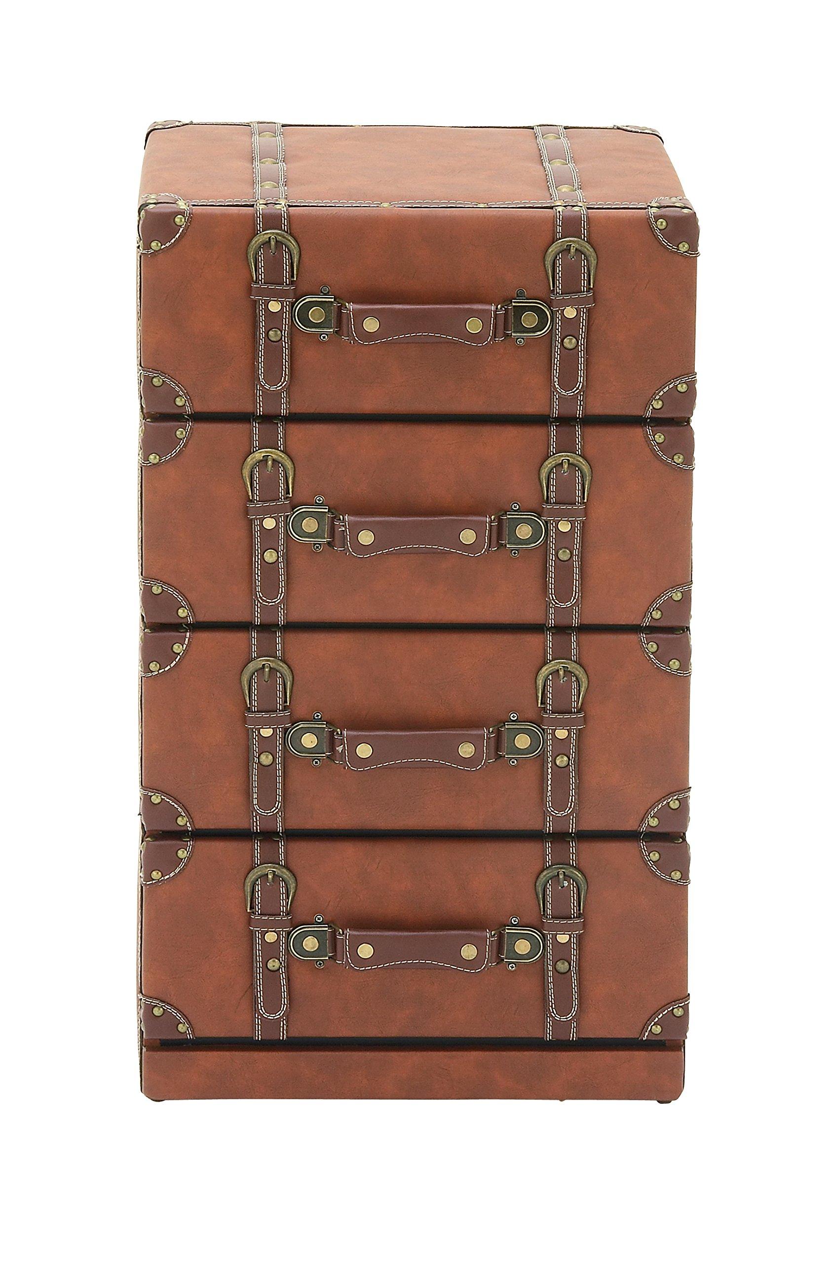 Deco 79 55772 Wood Leather 4 Drawer Dresser, 16''W/28''H