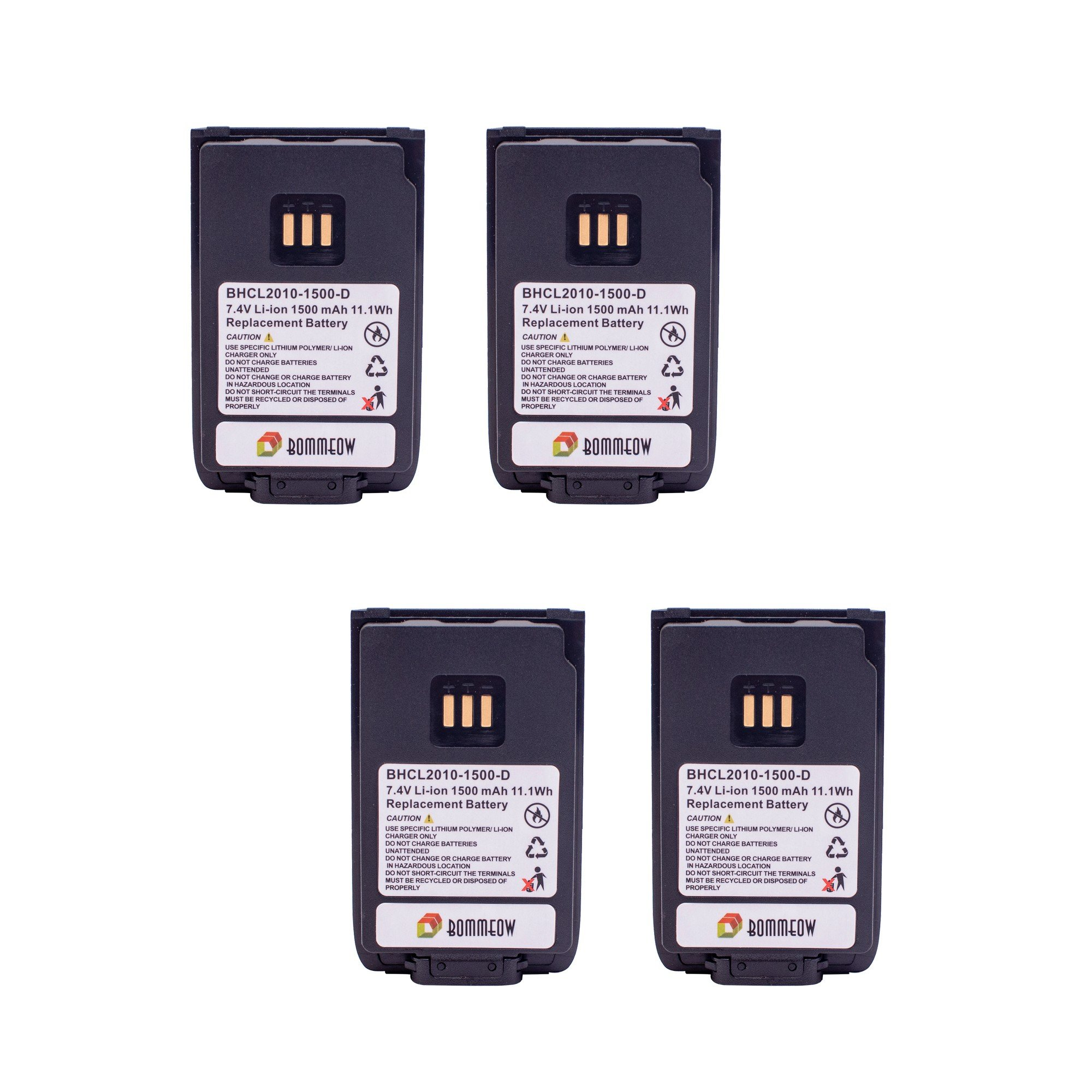 4 Pack Bommeow BHCL2010-1500-D Replacement Battery for Hytera PD502 PD-562 PD-682 PD-606 PD412 PD-662