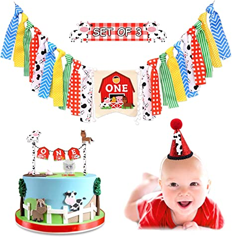 Strange Vansolinne Farm Animal 1St Highchair Banner Barnyard Birthday Funny Birthday Cards Online Inifodamsfinfo