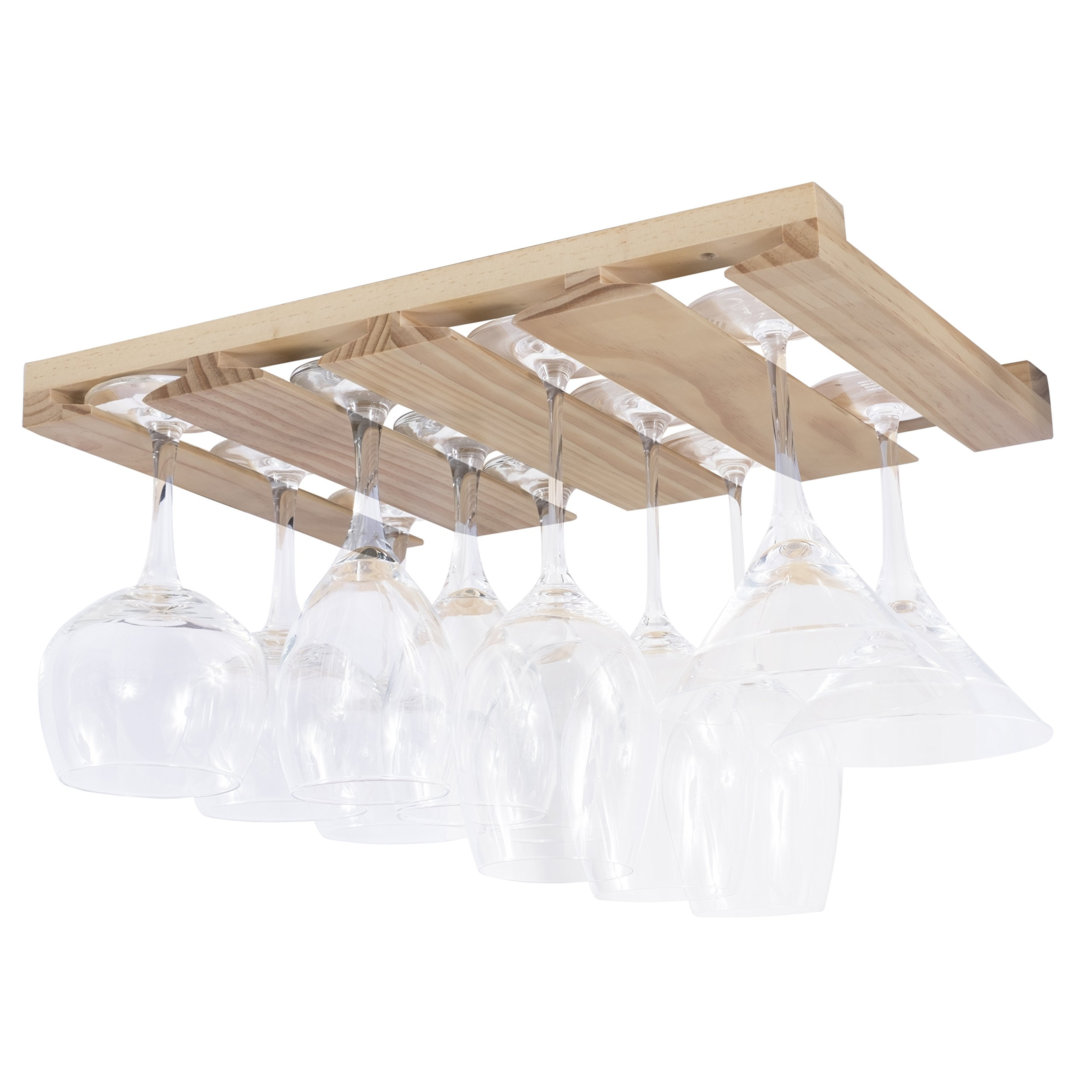 Rustic State 4 Sectional Under Cabinet Wood Stemware Rack 12 Inch Deep (Natural)
