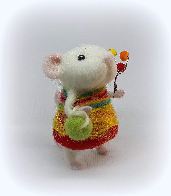 Felt animals Waldorf inspired Felting doll fiber art Needle felted mouse ECO Nature gifts mice toy