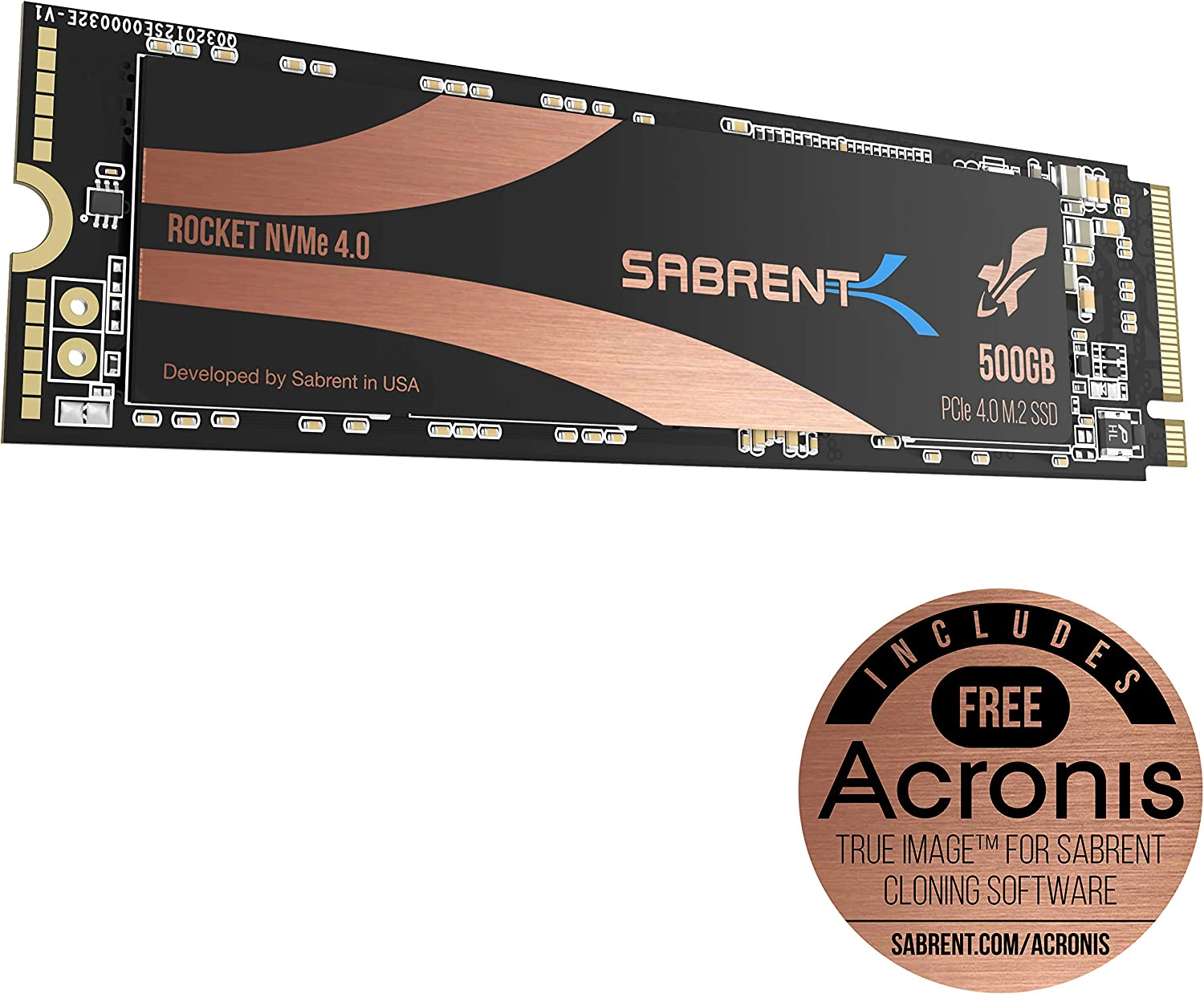 Sabrent 500GB Rocket Nvme PCIe 4.0 M.2 2280 Internal SSD Maximum Performance Solid State Drive (SB-ROCKET-NVMe4-500)