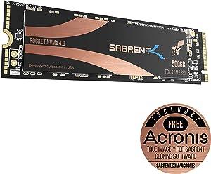 Sabrent 500GB Rocket Nvme PCIe 4.0 M.2 2280 Internal SSD Maximum Performance Solid State Drive (SB-ROCKET-NVMe4-500)