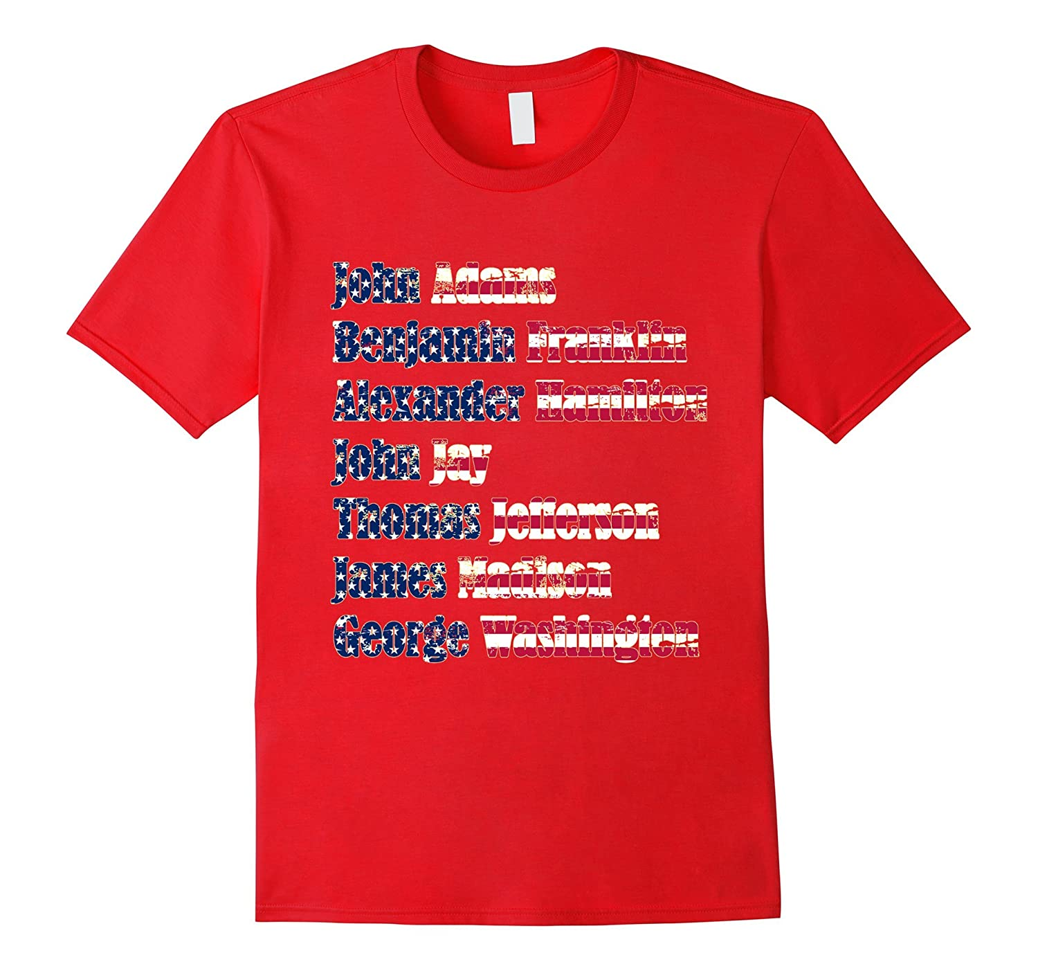 7 Founding Fathers of the US vintage American flag tee shirt
