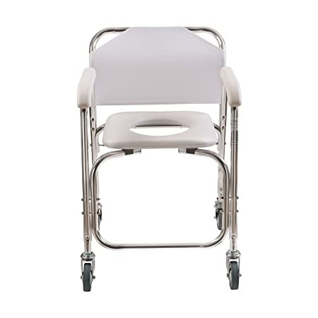 amazoncom duromed shower chair with wheels commode chair and padded toilet seat shower transport chair white health u0026 personal care