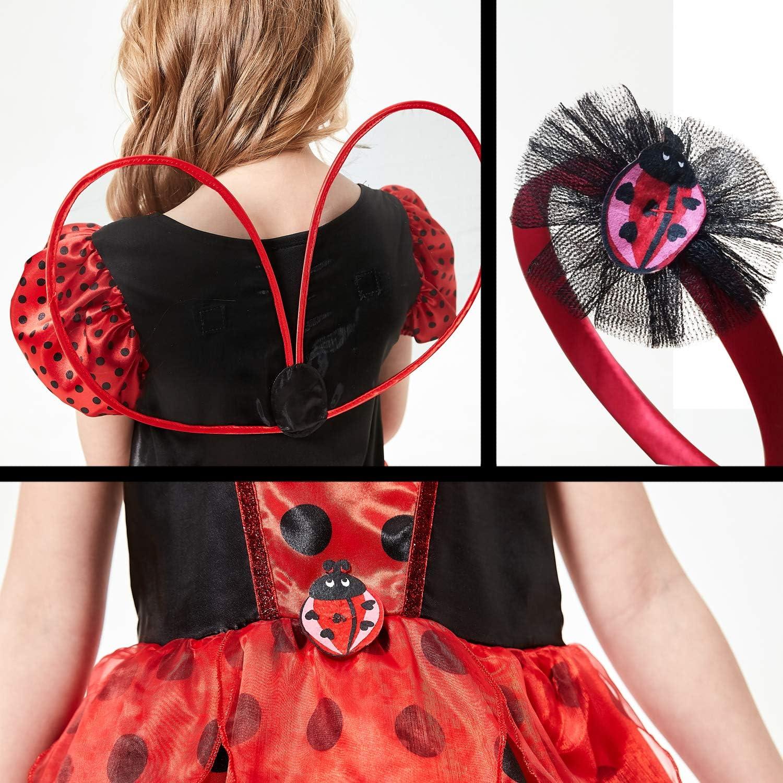 SPUNICOS Girls Halloween Ladybug Costume,Ladybug Cosplay Dress in Size 3-4,5-6,7-8