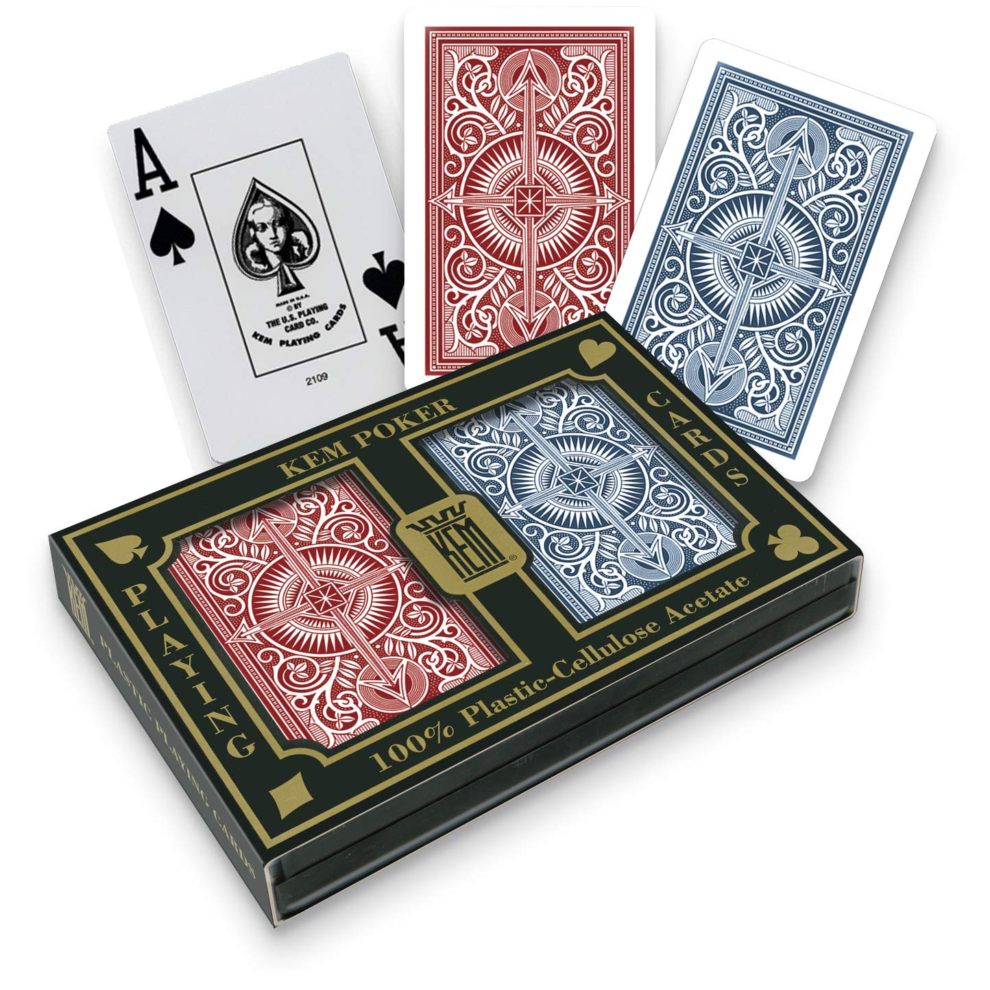 KEM Arrow Red and Blue, Poker Size-Jumbo Index Playing Cards (Pack of 2) - 1007284 by Kem Playing Cards