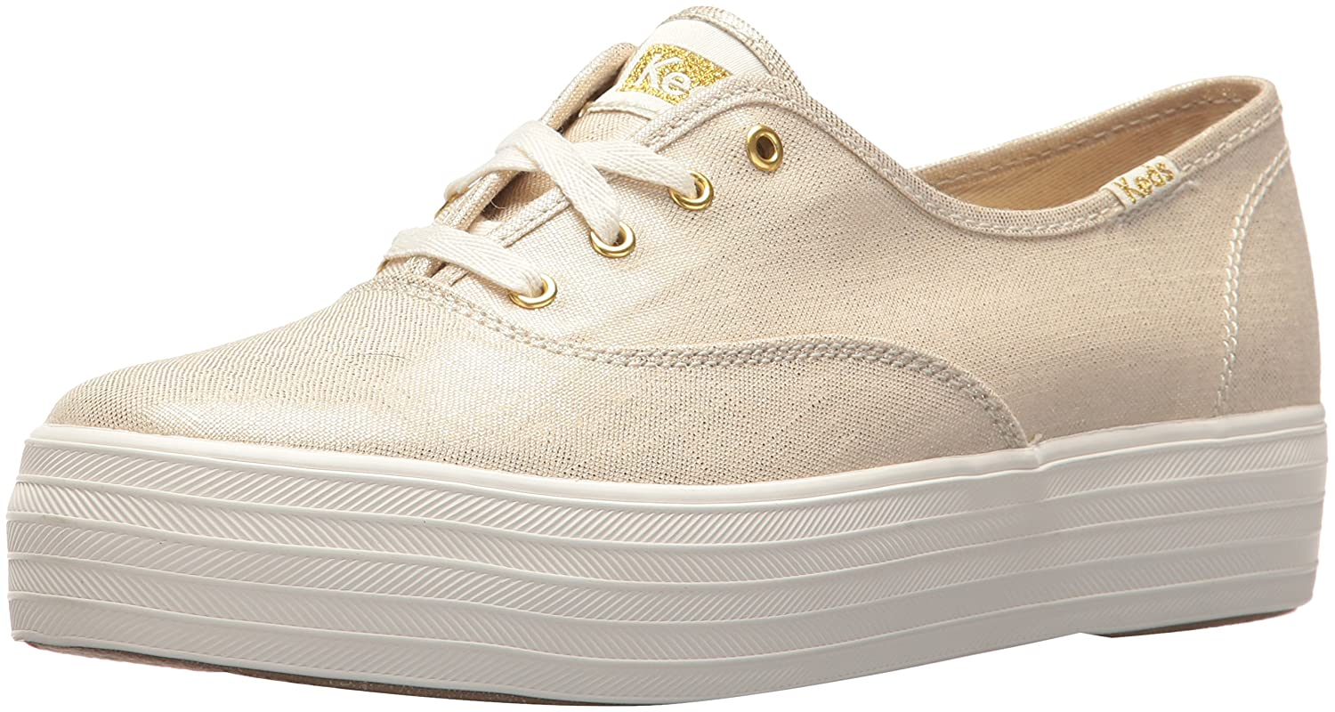 Keds Women's Triple Metallic Linen Sneaker B071G6NZ25 5.5 B(M) US|Gold
