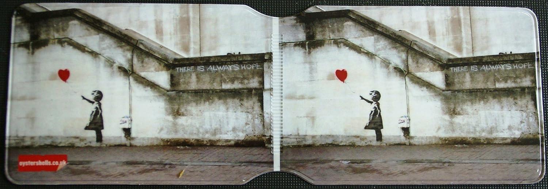 Banksy Tasche / Hülle für Fahrausweis / Fahrkarte, Motiv 'Mädchen mit fliegendem Luftballon'