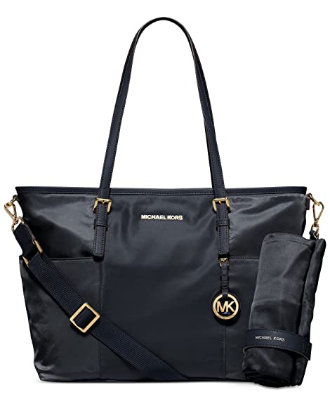 5af84b90df21 Amazon.com : MICHAEL Michael Kors Jet Set Large Nylon Pocket Baby Diaper  Bag (Navy) : Baby