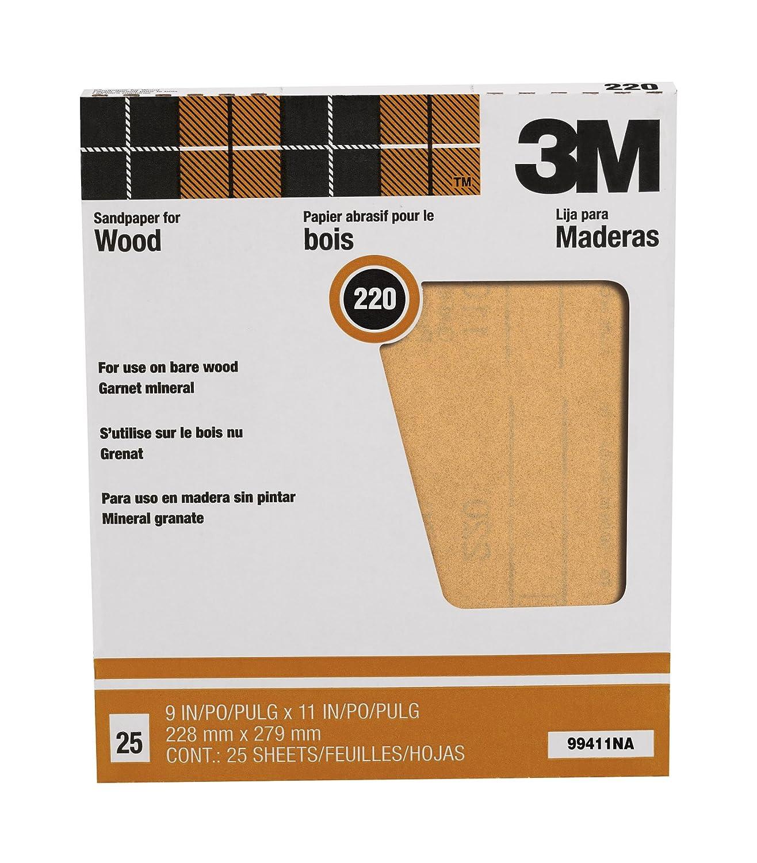 3M Pro-Pak 99411NA 9'by11' Garnet Sand Paper Sheets 220 Grit - 25 Pack