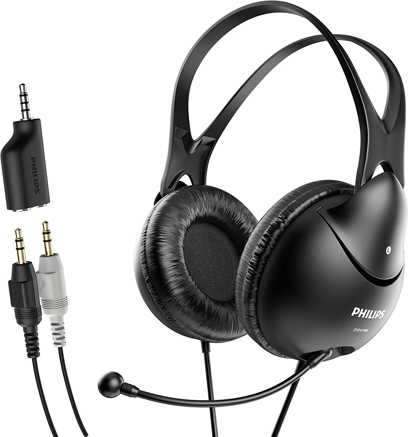Philips Computer Headset with Microphone for Laptop, Zoom, Skype - 3.5 MM Lightweight Computer Headphones with Echo Cancelling Mic for Home Office, Call Center, Skype, Zoom