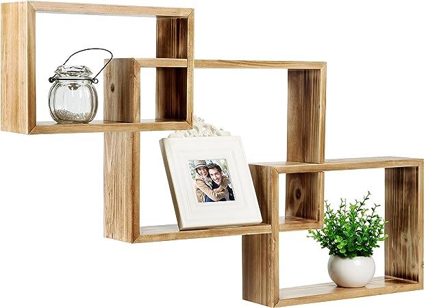 Pared caja de cajas de madera de enclavamiento sombra, flotante pantalla estantes, juego de 3: Amazon.es: Hogar
