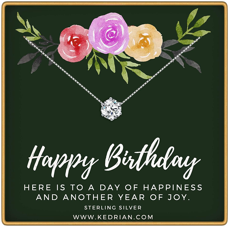 KEDRIAN Happy Birthday Necklace, 925 Sterling Silver, Happy Birthday Mom Gifts, Fun Birthday Gifts for Women, Birthday Jewelry for Women, Sentimental Birthday Gift, Birthday Gifts for Girls