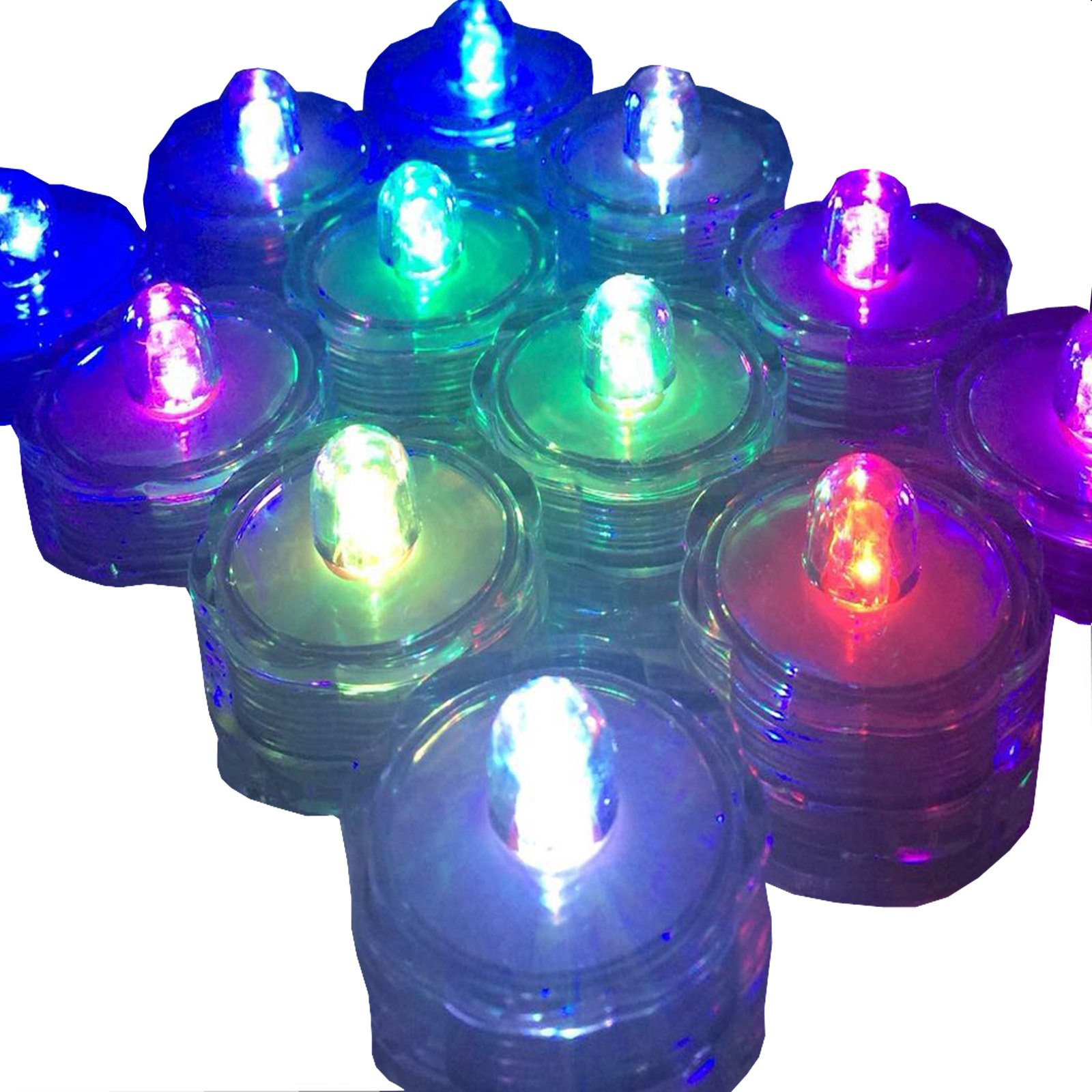 SUPER Bright LED Floral Tea Light Submersible Lights For Party Wedding (RGB(Changing color), 20 Pack)