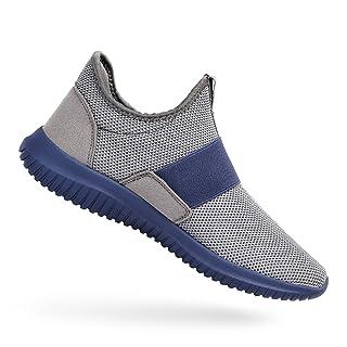Feetmat Running Shoes Men Laceless Lightweight Slip On Sneakers Grey Blue 9