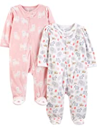 cd06840307 Simple Joys by Carter s Baby Girls  2-Pack Fleece Footed Sleep and Play