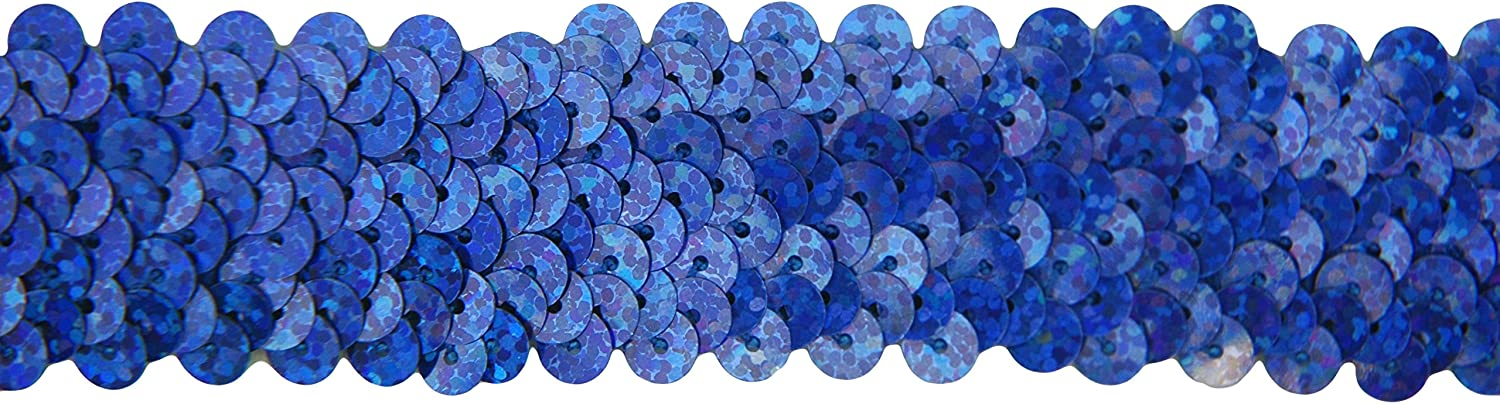 2 Widths Stretch Sequin Trim Roll Light Blue Threadart Available in 18 Colors 1.5 Wide 11yd Length