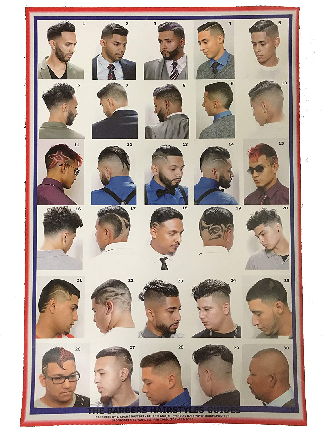 2015HMLike A Boss Barber Poster with 30 Cuts for Men /& Boys