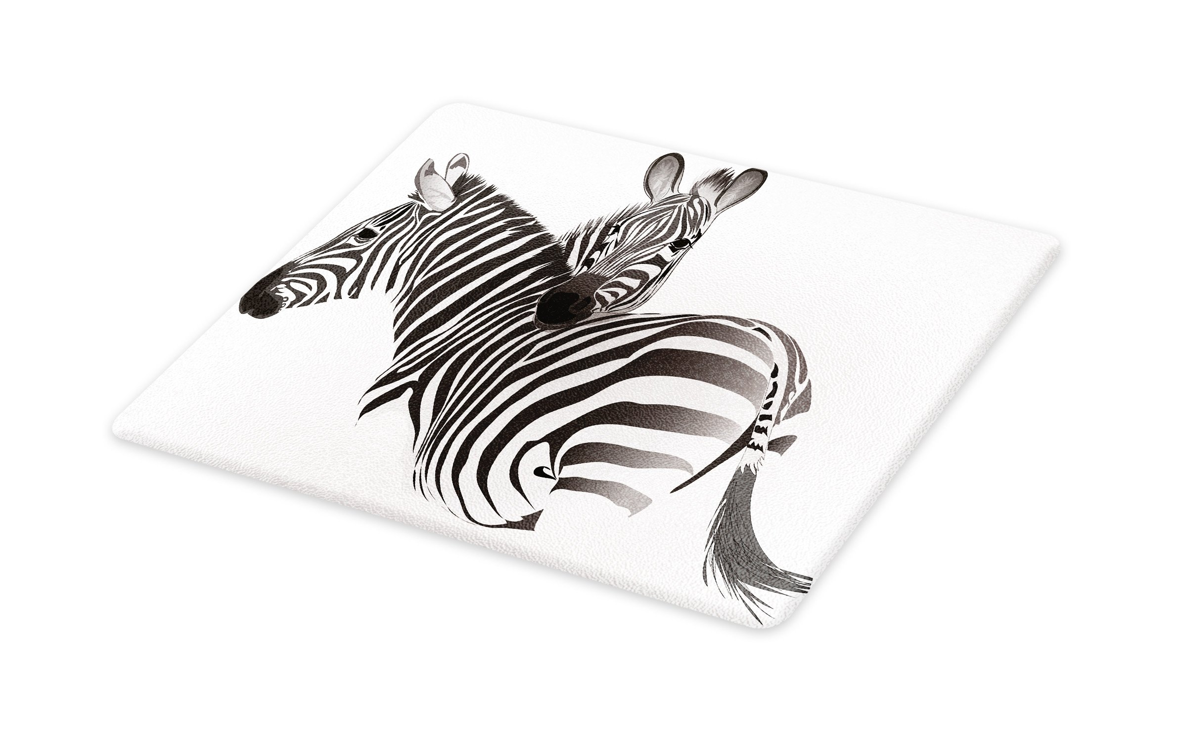Lunarable Zebra Cutting Board, Exotic African Animals Cute Couple Safari Theme Savannah Jungle Fauna Camouflage, Decorative Tempered Glass Cutting and Serving Board, Large Size, Grey White