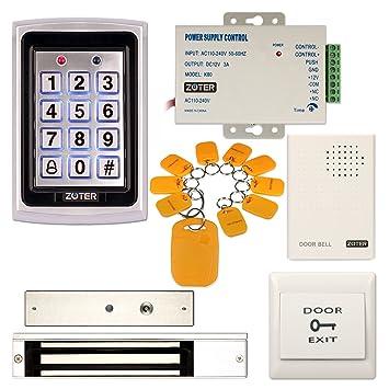 zoter Metal de seguridad de control de acceso RFID lector de tarjeta ID 125 Khz, teclado con 280 kg 600lbs magnético eléctrico cerradura de la puerta: ...