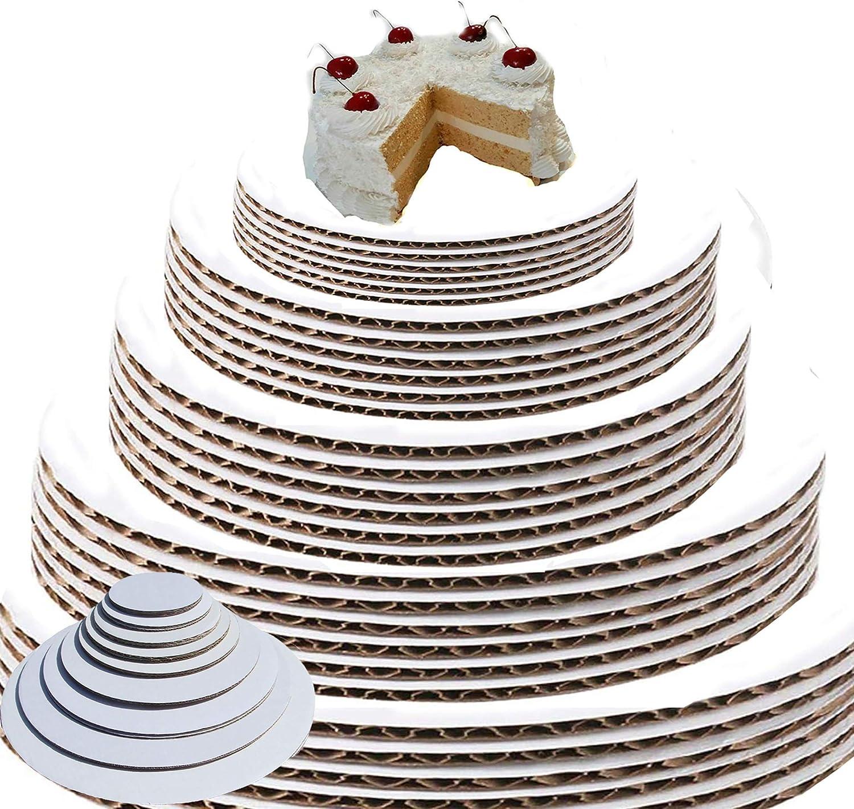 White Cake Circles Round Cake Boards Cake Circle Base Sturdy Cake Board Set, Food Safe Cake Boards inch Round (6