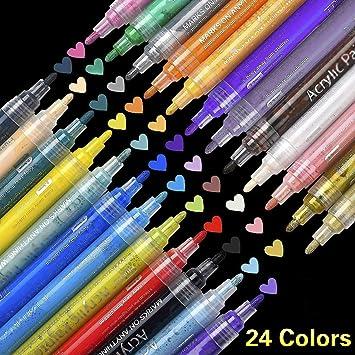 Supersun Marqueur Peinture Acrylique 24 Couleurs Peintures