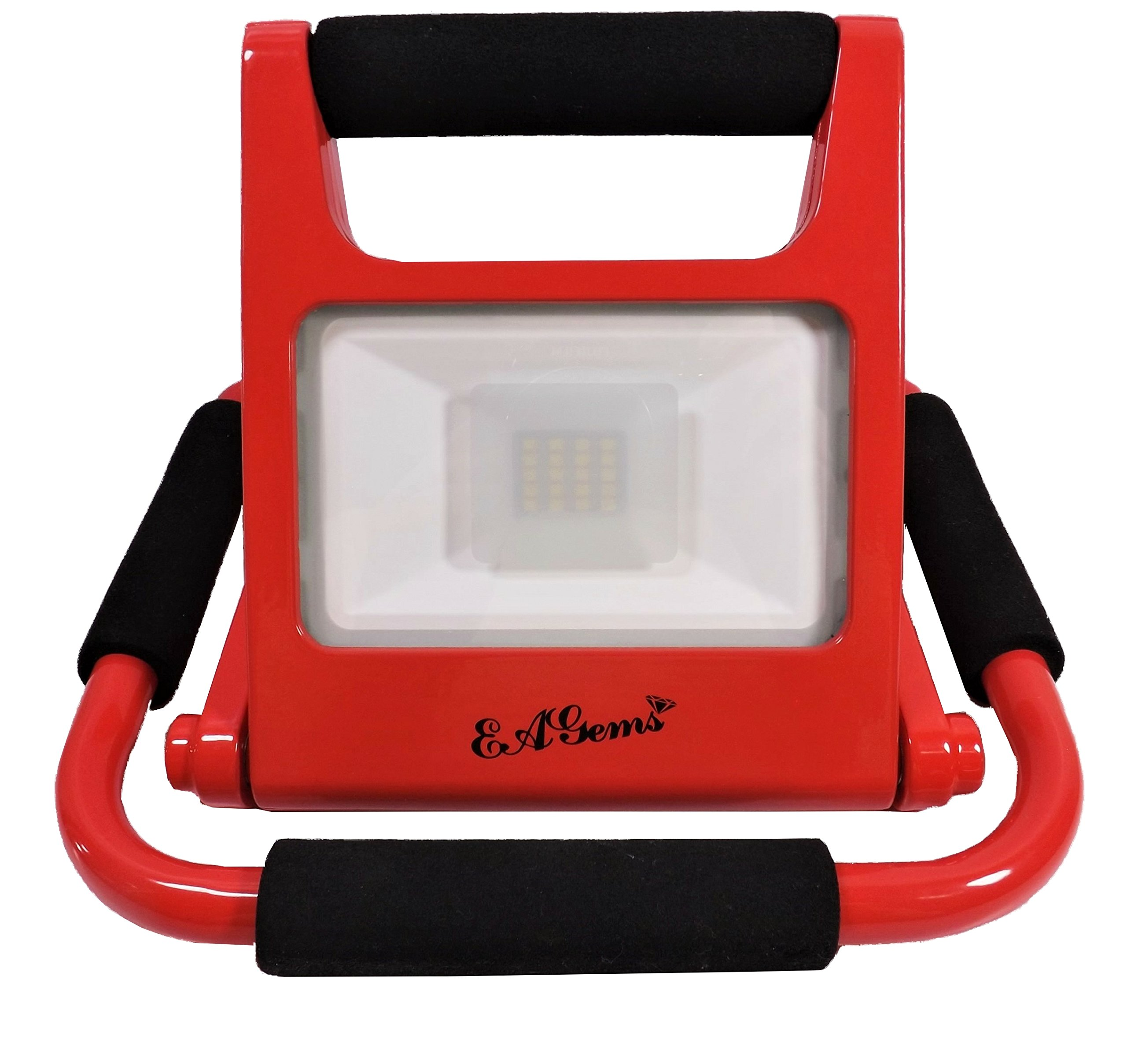 LED Work Light by EAGems - Rechargeable Bright 10 Watt Lamp, Great for Home-Office-Car-Outside/in, Use as Emergency Spotlight Or Flashlight - Portable, Folds to 1'' Thick - Adjustable 360 Degrees, Red