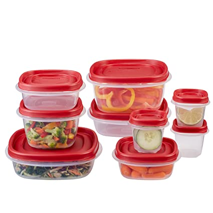 Rubbermaid Easy Find Lid 18 Piece Food Storage Container Set, Red