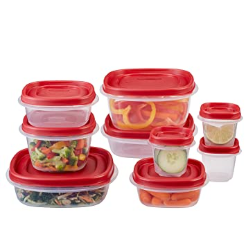rubbermaid easy find lids food storage container 18piece set red - Kitchen Storage Containers