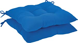 AmazonBasics Tufted Outdoor Square Seat Patio Cushion - Pack of 2, Blue